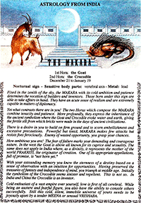 Indian MAKARA Goat Crocodile Astrology for Ivan Stein